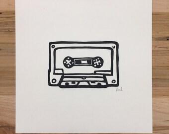Cassette (Linocut print)
