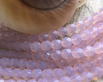 Czech Glass Fire Polished Pink Opal 6mm Beads x 50