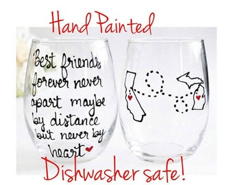 Best Friend Wine Glass - Long Distance Friendship Gift - Friendship Long Distance - Friendship Distance -Painted  21 oz Stemless Wine Glass