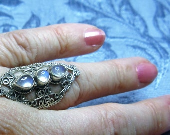 Rainbow Triple Moonstone Sterling Ring Size 6