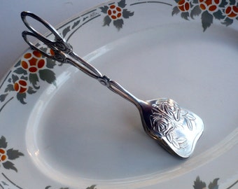 Silver Cake Tongs, Silver Plated Tongs , Cake Servers, Pastry Tongs