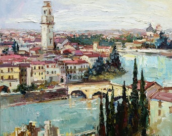 "Verona - Italy Landscape painting Original oil painting 31.5"" x 27.6"" Fine Art by Valiulina"