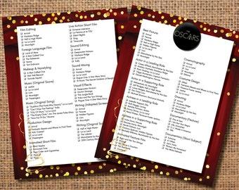 Oscar Party Ballot, Oscar Party Game, Academy Awards Ballot, Academy Awards Invitation, Oscar Party Invitation, The Oscars Ballot Game