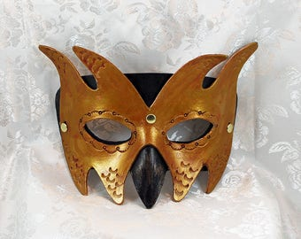 Leather Goblin Mask, Black Bronze Gold Leather Imp Goblin Masquerade Mask Renaissance Fair Leather Mask