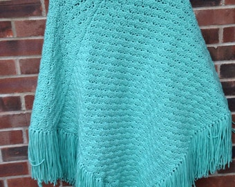 Hand Crocheted Poncho with fringeTeal/Aqua