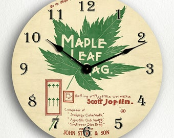 Maple Leaf Rag Ragtime Sheet Music Cover Silent Wall Clock