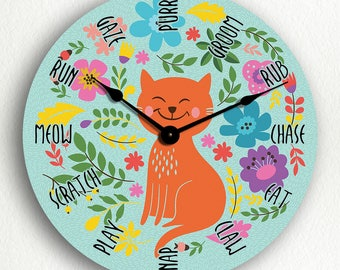 Cat Activities Adorable Silent Wall Clock