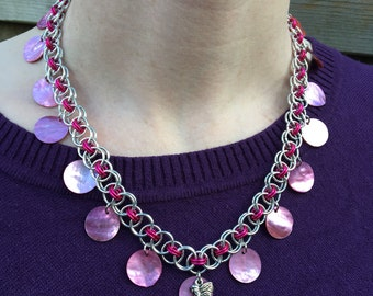 Rose Petal Fairy Fae Pink Chainmaille Necklace