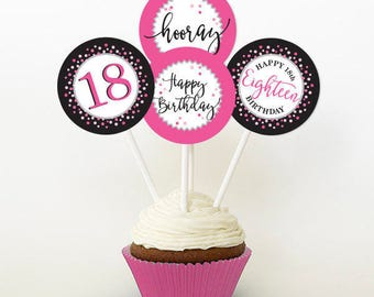 18th Birthday Cupcake Toppers, Pink and Black, Favor Tags, PRINTABLE, 2 Inch
