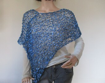 Light blue hand knitted poncho