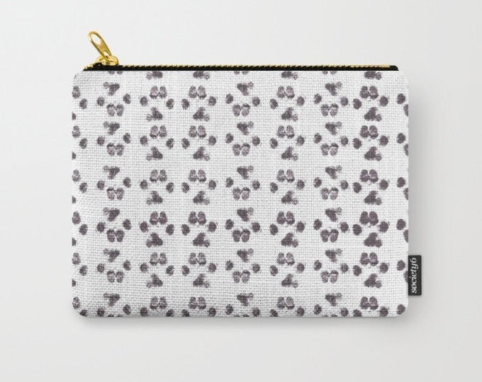Carry All Pouch - Large Puppy Paw Prints - Make-up Bag- Pouch- Toiletry Bag - Change Purse - Organizing Bag - Made to Order