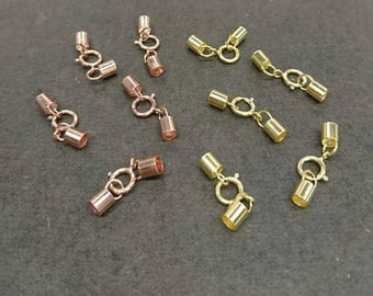 2 Sets, Necklace Cord End Clasp, Rose Gold Vermeil, Yellow Gold Vermeil, 3mm End Tube with Spring Clasp, Jewelry Supplies