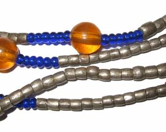 Long Strand of Vintage Ethiopian Jimma Metal Tube Beads 3 mm