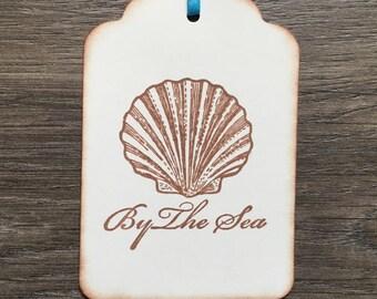By the Sea Tags, Ocean Theme -Set of 6  Beach Tags/ Favor Tags (Beach Wedding/ Bridal Shower/ Sweet 16/ Birthday/ Summer Beach Party)
