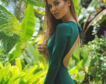 One piece dark green long sleeve swimsuit