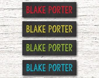 80 Skinny  Personalized Waterproof Labels Waterproof Stickers  Dishwasher Safe Daycare Label School - Boy Chalkboard