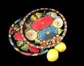 Vintage Wooden Bowls Mexican Batea Bowl Handpainted Handcarved Bright Flowers on Black Folk Art