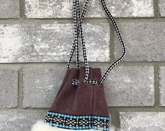 vintage native american southwestern suede inspired small coin purse bag