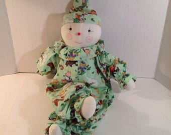 """Vintage Handmade Soft Clown Doll 20"""" Tall Jointed with Nursery Rhymes Clown Outfit"""