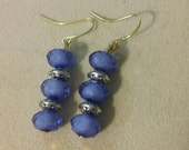 Artisan Handmade Blue Bead Silver Tibetan Style Saucer Accent Gold Plated Dangle Earrings Jewelry Gift Fashion Accessory Unique Casual Look