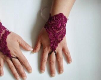 Purple lace gloves, Purple gloves, fingerless wedding gloves, lace bridal wedding gloves Damask lace