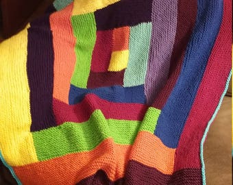 Knitted Multi-Colored Log Cabin Style Afghan