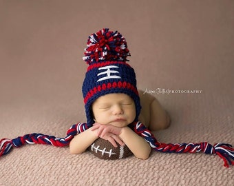 New England Patriots Baby Boy Hat FOOTBALL Newborn Baby Boy or girl Crochet Football Hat With Ear Flaps 0 3 6 12 months Steelers Texans