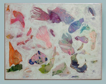 "abstract painting, acrylic painting,modern wall art, fish painting by M.Schöneberg ""My dream about fish"" 16x20x 0,75"