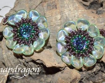 Pretty Anemone flower earrings with Swarovski Tanzanite centres