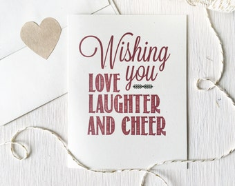 Set of 8 Rustic Christmas Cards, Holiday Card, Stationery, Stationary, tis the season, love laughter cheer, wishing you love, teacher gift