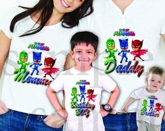 INSTANT DL- Pj Masks  Iron on Transfer, Family set Boy / Girl - pj masks T Shirt digital file Birthday - you print- (non personalized)