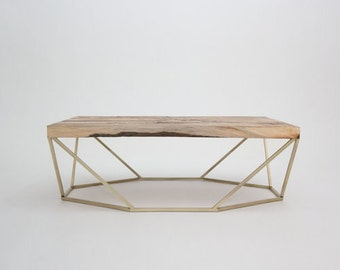 Modern Large Coffee Table in Salvaged Wood and Brushed Brass