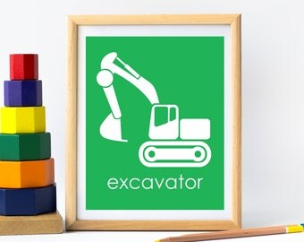 Excavator Nursery Art For Boys Construction Room, Construction Nursery, Children Wall Art, Kids Playroom Art, Truck Nursery, Kids Prints
