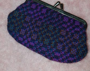 Vintage Welsh Wool Tapestry Purse in Purple coin purse (1124)