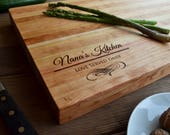"20""x12"" Personalized Chopping Block, Engraved Edge Grain Cherry Wood, Professional Quality, Mother's Day, Nana Gift, Mom Gift"