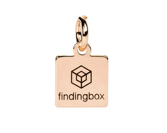 Rose Gold Square Jewelry Tag, Laser Engraved Logo on Square Tags Sequins, 9x11mm, 19 Gauge, Pkg of 100 PCS, F14P.RG04.P100.C