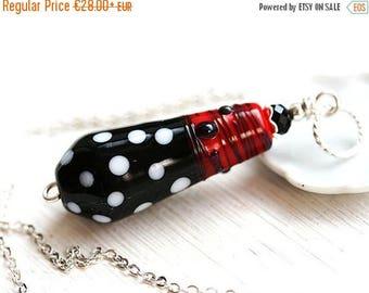 50%off SALE Retro Necklace, Black and White Pendant, White dots on black, Lampwork Pendant, Red and Black, Retro style, SRA Lampwork Jewelry