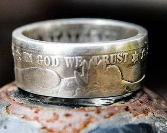Silver Barber Half Dollar Coin Ring
