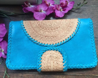 Turquoise blue leather mandala wallet