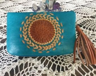 Genuine leather turquoise mandala wallet
