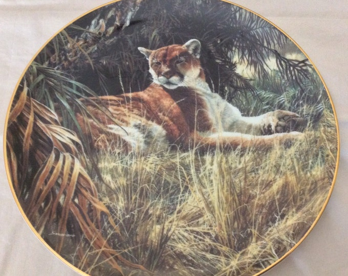 Wildlife Plate, Mountain Lion Plate, Man Cave Decor, Wall Hanging, Rare Encounters, Last Sanctuary, Gift For Christmas