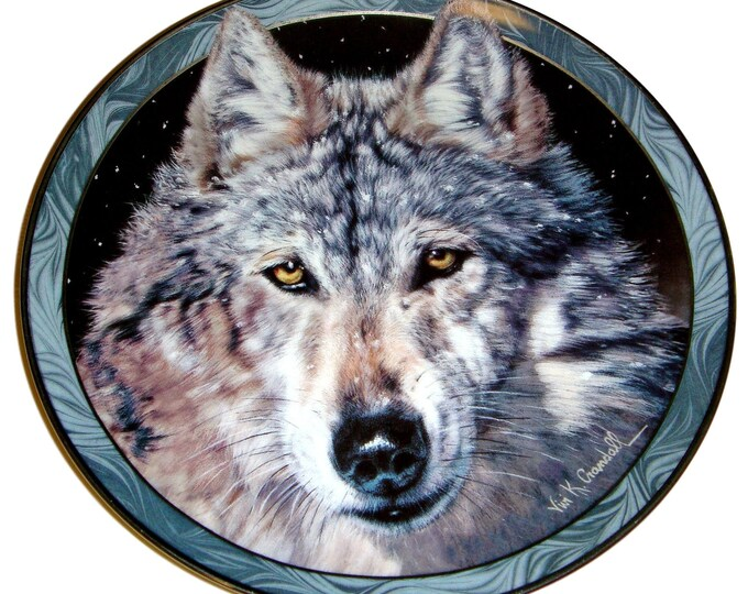 Wolf Wall Plate - Gray Wolf Decor - Vivi Crandall - Midnight Snow Plate - Wolf Scene - Cabin Decor - Mystic Spirit