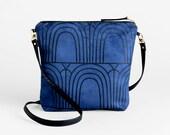 Blue evening bag with a shoulder strap - Vegan suede crossbody bag - Blue foldover clutch -  Convertible shoulder bag to clutch purse