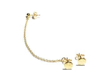 Circle Cartilage Chain Earring Set - Ear Cuff, Earring Cuff, Gold Earring, Post Earring