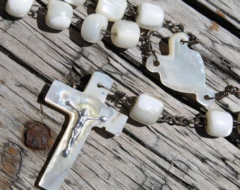 Large French Mother of Pearl Rosary, Vintage Catholic Rosary, Bethlehem Rosary, Heart, Unique Rosary, Baptism Gift, Art Deco White Rosary