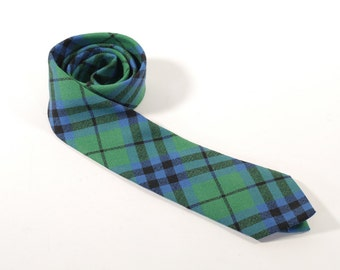 Vintage 1960s Keith Plaid Necktie - Green, Black, Blue Plaid - 100% New Wool - Made in Scotland - Scottish Tie