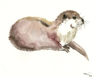 Animal Artwork Otter animal artwork, watercolor painting, wildlife animals, otters/ one of a kind artwork, animal art, animal lover