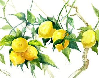 Lemons on Tree, Original watercolor painting, lemon wall art, lemon wall art, kitchen wall art, food painting, lemon painting