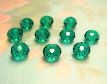 10 Transparent Dark Teal/Emerald Faceted 8mm Swarovski Rondelles