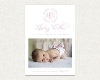 Custom Baby Birth Announcement by Kate Chambers Designs